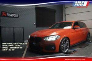 STAGE 1 ET CONVERSION E85 FLEX FUEL BMW SERIE 1 F20 LCi 16i 1.5T 109 CV 180 NM 179 CV 252 NM NM Engineering
